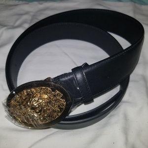 Versace belt black with gold medusa buckle NWOT